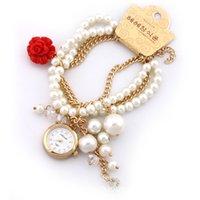 Wholesale 50pcs Korea Rhinstone Women Bracelets Watches Big Girls Lady Luxury Pearl Rose Crystal Round Watch Ladies Gift Quartz Wristwatches H1581