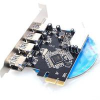 Wholesale 4 Port USB HUB to PCI e PCI Express Card Adapter VIA Chipset Internal fast shipment