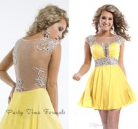 Wholesale Sexy Short Cocktail Dresses Yellow Chiffon Sheer Open Back Bling Bling Crystals Shiny Beaded Sequins Mini Ball Gown Party Homecoming
