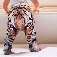 Cheap Baby Pants For 2015 Autumn New Arrival Clothing Fashion 3D Printing Tiger Head Cool Kids Boys Girls Harem Pants Fit 1-4Year Child Retail