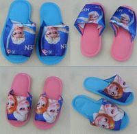 Wholesale Girls Cute Cartoon Frozen Elsa Anna Princess Slipper Children Lovely Snow Queen Home Slippers Blue Pink JL
