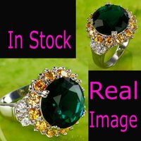 green topaz - In Stock Emerald Topaz Gemstone Wedding Rings Size Green Cocktail Jewelry Rhinestone Gold Plated Bridal Accessories Cheap