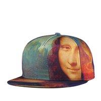 Wholesale 2015 European and American Fashion New Summer Hat Mona Lisa Printing Hip Hop Baseball Caps Male And Female Snapback Cap