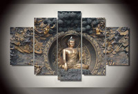 art poster frames - 5 Panel Framed Painting Buddha Statue Painting wall art room decor print poster picture canvas modern frames for paintings