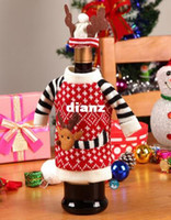 Wholesale New Arrive Set Christmas Red Wine Covers Bottle Cover Indoor Decoration Antler Hats Tops Suits Kitchen Dinner Christmas