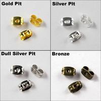 Wholesale OMH x6mm Gold silver Nickel plating Ear Post Butterfly Back Earring Stopper button Earring Jackets DY88