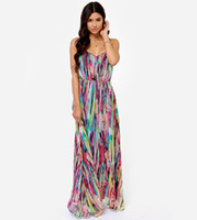 Cheap Fashion genius art abstract multicolor gorgeous color digital printing condole belt chiffon dress,XS-XXL,Free Shipping