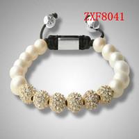 america supplier - European America alloy balls with cz diamond white Pearl beads beaded bracelets mens fashion bracelet shamballa for ladies supplier