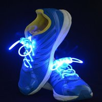 Wholesale HOT SALE LED Flashing Shoe Lace Fiber Optic Shoelace Luminous Shoe Laces Light Up Flash Glowing Shoes lace Colorful LJP405