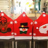 Wholesale Mr Mrs Santa Claus Reindeer Snowman Chair Cover Snowman Plush Christmas Home Ornament Decor Red Set