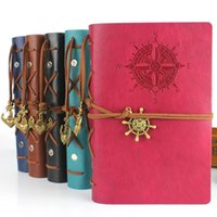 Wholesale Vintage Style Leather Cover Notebook Loose Leaf Travel Notepads Corsair School Supplies Journal Diary Blank String Nautical Feida