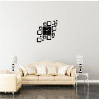 Cheap DIY Three-dimensional Home Crystal Sticker 18 Squares Mirror Black Wall Sticke Clock Combination Set Movement Decoration