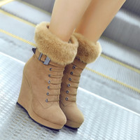 Wholesale 2015 Winter Platform Wedge Heel Sexy Fur Ankle Boots Shoes For Women Ladies Black Brown Colors New Arrivals