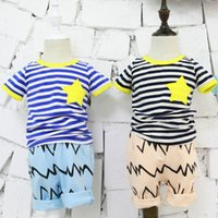 Wholesale 2015 Summer New Boys Cottong Striped Short Sleeves T Shirts Children Summer High grade Cotton Hit Color Round Neck T shirts Kids Summer Tops
