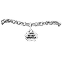 america god - Customized Letter GOD BLESS AMERICA Eco friendly Antique Silver Plated For Girls or Sisters Link Chain Charm Bracelets a