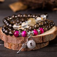 Cheap Korean jewelry 925 silver natural citrine concentric lock Wang peach multi beaded bracelet bracelets female
