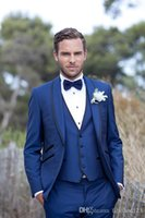 Wholesale New Arrivals One Button Blue Groom Tuxedos Shawl Lapel Groomsmen Men Wedding Tuxedos Dinner Prom Suits