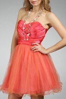 bandage crepe - Sweetheart Strapless Short Cocktail Dresses A Line Evening Prom Party Gowns Orange Ruched Graduation Gowns Dresses Evening Party