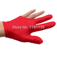 Wholesale 10pcs Purple Red Billiards Snooker Cue Shooters Billiard Table Three Finger Left Or Right Hand Gloves