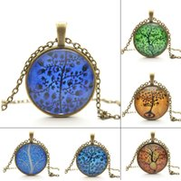 Wholesale Life Tree Pendant Necklace Art Tree glass cabochon Necklace Bronze chain vintage choker statement Necklace Fashion women Jewelry
