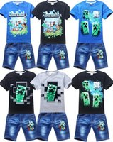 Wholesale cartoon minecraft creeper summer clothing sets fashion boys children short clothes children clothes T shirts sets sports suits children