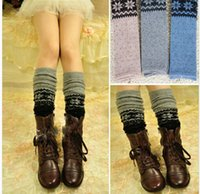 ladies knee socks - Fashion Lady Knit Leg Warmers Boot Topper Winter Socks Over Knee Stocking cm DH04