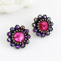 bead chandeliers - Min Order New Coming Colorful Rhinestone Beads Decoration Stud Earrings For Women Gift