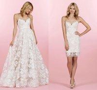 handkerchief dresses - Ivory Lace Bridal Mini Dress Short With Lingerie Strap Detailing Tulle Handkerchief Overskirt A Line Detachable Skirt Wedding