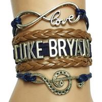 Wholesale Drop Shipping Infinity Love Luke Bryan Music Charm Handmade Leather Wrap Bracelet Custom Musicale Note Singer Fans Bracelet