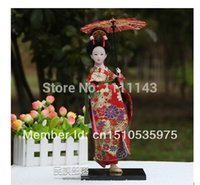 bamboo culture - 1503 cm Home Decoration Beautiful Japanese Geisha Silk People Dolls Arts Traditional Culture Gypsum Model Toys For Girls