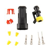 Wholesale 10 Kits Pin Way Sealed Waterproof Electrical Wire Connector Auto Set For Car motorcyle boats Black