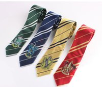 Wholesale Harry Potter Necktie College Tie Harry Potter Gryffindor Tie With Badge Slytherin Ravenclaw Costume Accessory Stripe Ties