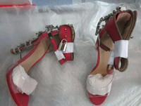 ankle nail - red rhinestone pumps jeweled mental heel pumps vogue strange style high heel lock ankle strap nail sandal