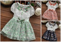 beautiful girls in skirts - 2015 summer new beautiful flower dress Pure comfort girls dance skirt Short sleeved printed dress year girls beach dress in stock Q1