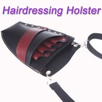 Wholesale Leather Barber Scissor Hairdressing Holster Pouch Holder Case Rivet Clips Bag with Waist Shoulder Belt