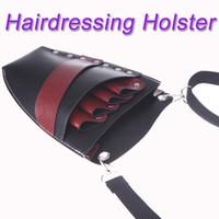 Wholesale Leather Barber Scissor Hairdressing Holster Pouch Holder Case Rivet Clips Bag with Waist Shoulder Belt