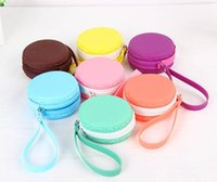 Wholesale Macaroon Coin Purse Coin Pouch wristlets Macaro Macaron Silicone Coin Case Pochi Pouch Wallet with Zipper mini bags cosmetic bag