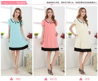 Wholesale hot sale new spring and summer solid maternity dresses maternity wear lapel stitching lace chiffon dress