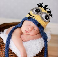 Wholesale Despicable me crochet hats NEW Baby cartoon minions Costume Handmade Crochet Knitted Hat Animal Mouse Head Beanie Cap