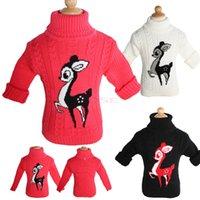 kids winter sweater - Winter Baby Boys Girls Cartoon Deer Pullover Sweaters Children Kids Unisex Knitting Turtleneck Sweaters Toddler Mock Clothing SV006395