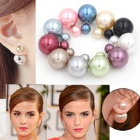Wholesale High Quality Double Sided Pearl Earrings Double Stud Earrings Double Pearl Stud Earrings for Women