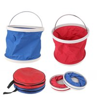 Wholesale Outdoor L Folding Fishing Bucket Camping Car Washing Hiking Water Bucket Barrel Red Blue