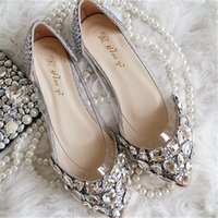 Wholesale new wedding shoes handmade silver rhinestone flat shoes elegant lady dress shoes Transparent boat shoes bridal shoes