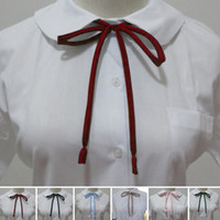Wholesale New Lovely Thin Strips Smooth Collar Rope Japanese Style High School Uniform Neck Rope Collar Bow Ties YE0013