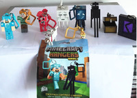 Wholesale DHL Minecraft Hangers Series Minecraft Fiigure Hanger Keychain with Retail Package in stock