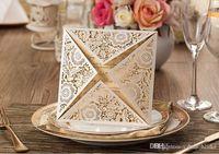 Wholesale Hot Sale Laser Cut Wedding Invitations Gold Free Printing Wedding Invitation Card Flowers Hollow Wedding Cards