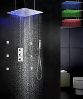 bath shower sets - Thermostatic Bath Shower Faucet Set Inch Swash And Rainfall LED Temperature Sensitive Shower Head QL F