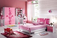 Wholesale Pink Love Children Dream House Furniture Bedroom Furniture wood furniture Bed desk wardrobe cabinet girl bedroom MYL8835