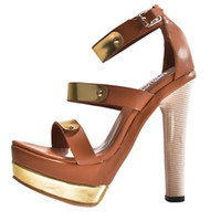 Cheap Women's High Heel Fashion Sandals Open Toe Shoes Golden Metal Decoration Shoes Handmade For Wedding Party Dress Stiletto Shoes