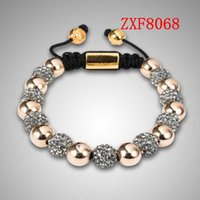 ball chain suppliers - 18K gold alloy balls with cz diamond Copper beads beaded bracelets womens fashion bracelet shamballa supplier ZXF8068